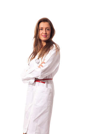 young attractive female doctor on white isolated background Stock Photo - 16686578