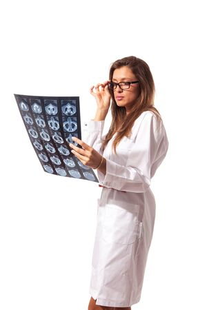 young attractive female radiologist on white isolated background Stock Photo - 16686589