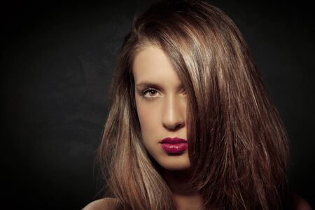 photo of attractive woman with long hairs photo