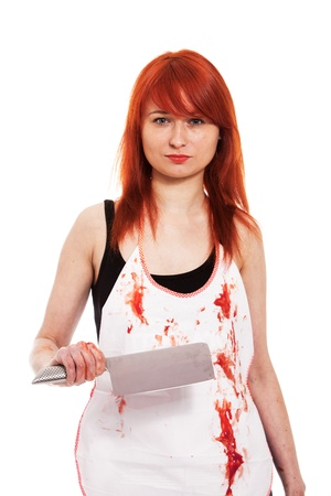 young knife: Red hair female butcher with knife and blood on apron Stock Photo