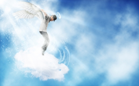 composition of afro amercian guy dancing as angel in the sky photo