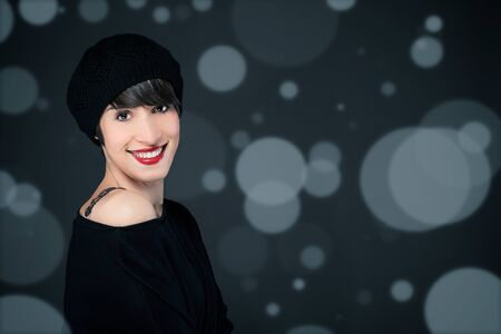 stockphoto: photo of beautiful girl with french style outfit over sparkling background, stockphoto  Stock Photo
