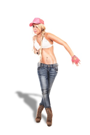 blonde sexy female hip hop dancer with jeans and white bra, isolated photo