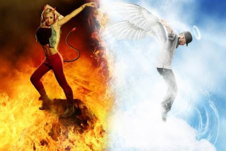 angel and devil: Fantasy  of Angel and Devil dancer in their own world Stock Photo