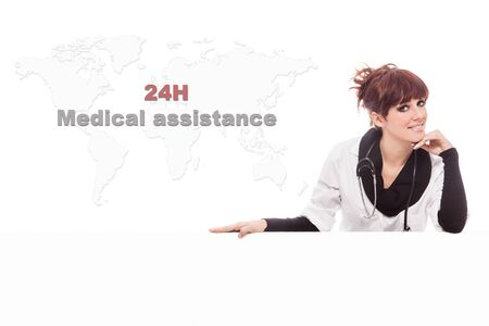 medical services: Conceptual of medical assistance service with smiling woman Stock Photo