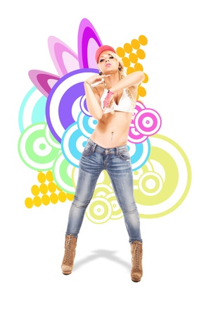 grooves: Sexy Blonde female dancer in front of illustration background with shadow