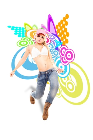 stockphoto: Stockphoto, Sexy Blonde female dancer in front of illustration background