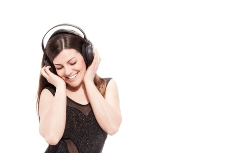 photo of attractive woman with headphones over white background photo