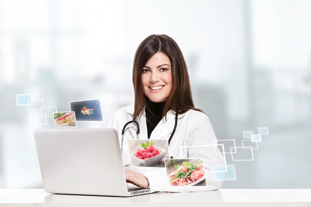 conceptual photo of a female nutritionist Stok Fotoğraf