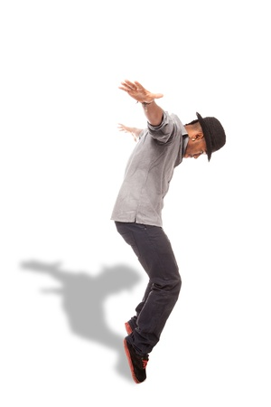 urban dance: photo of afro amercan dancer over white isolated background