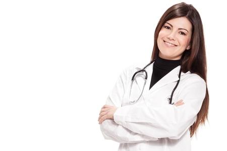白い分離背景に女性医師の写真