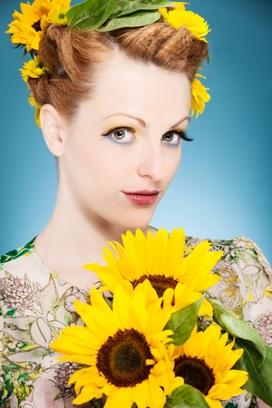 fresh summer makeup with sunflowers in the head photo
