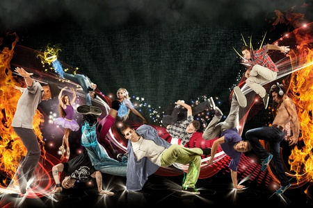 Photo manipulation of different dancers  Stockfoto