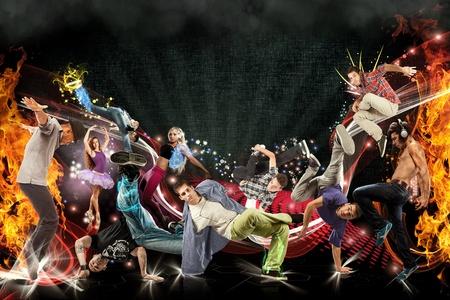 Photo manipulation of different dancers  Foto de archivo