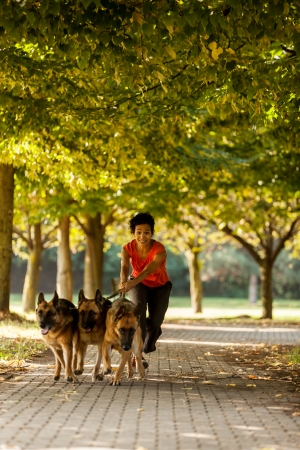 sitter: Photo of dog running woman with three german shepherds