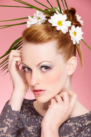 floreal: Beauty portrait of woman with great floreal hairstyle and makeup