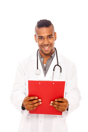 Smiling afro american doctor with flip chart photo