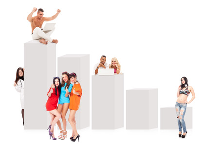 Conceptual image of happy and successful people next to a bulk chart photo