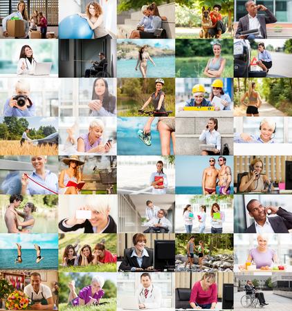 woman fitness: Plusieurs images de mode de vie aranged ensemble dans un collage color�