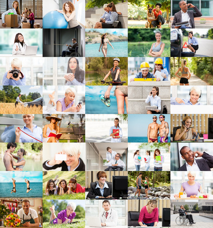 medical field: Several Lifestyle images aranged together into a colorful collage