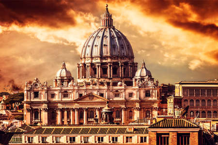 Beautiful cityscape of the vatican city by sunset