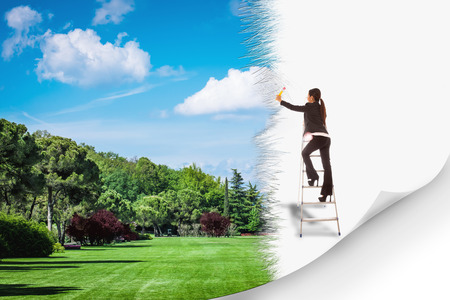 escaleras: Foto conceptual del entorno verde