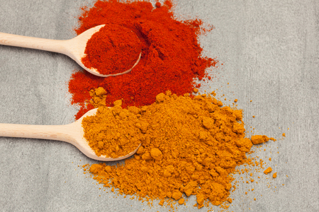 indian culture: Photo of colorful spices over wooden table