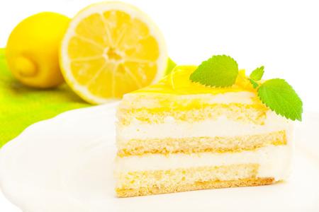 レモン クリームのケーキの写真 写真素材