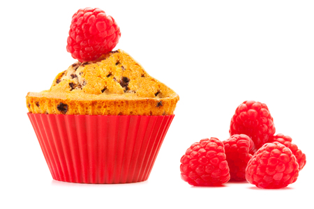 cupcakes: Photo of cupcakes with raspberries over white isolated background Stock Photo