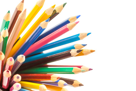 color pencils: Photo of colorful pencils over white isolated background