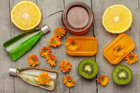 spa: Photo of spa products and ingredients Stock Photo