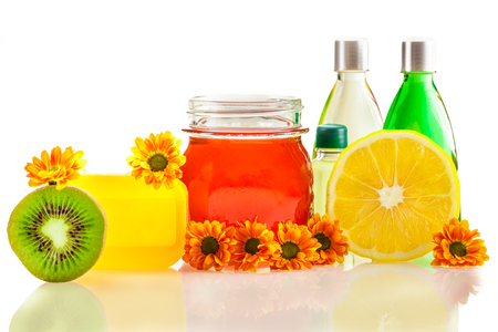 glycerin soap: Photo of spa products and ingredients Stock Photo