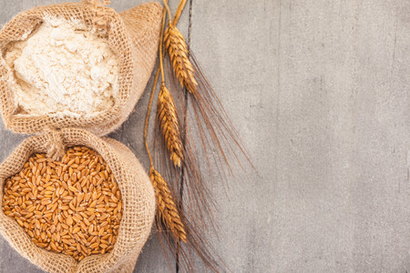 table grain: Photo of wheat grains and flour on the wooden table Stock Photo