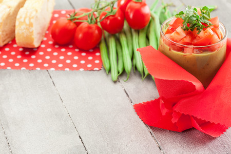 gaspacho: Photo of gazpacho over wooden table Stock Photo