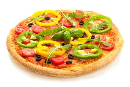 孤立した白地にパプリカとおいしいピザの写真 写真素材 - 58371473