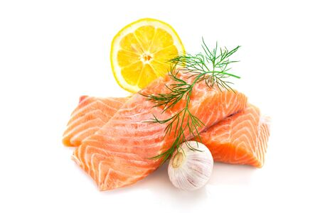 Photo of fresh tasty salmon over white isolated background Zdjęcie Seryjne
