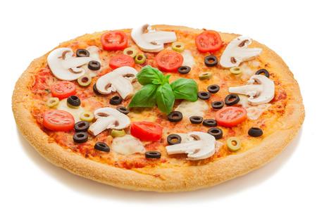孤立した白地でキノコとおいしいピザの写真