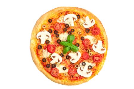 孤立した白地でキノコとおいしいピザの写真 写真素材 - 58371482
