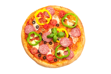 Photo of tasty pizza with salami and paprika over white isolated background