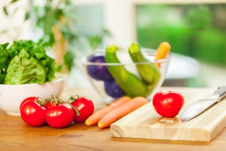 カット板で野菜の写真 写真素材