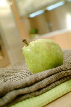 green pear on kitchen