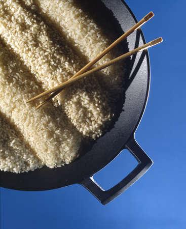 rice on wok