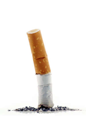 do not smoke - extinguished cigarette on white background