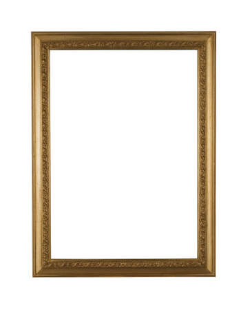 elegance old gold frame with path on white
