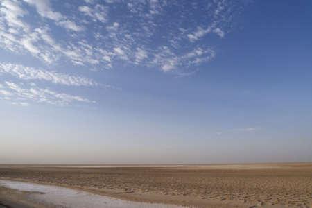 view of chott el jerid - tunisia salted lake
