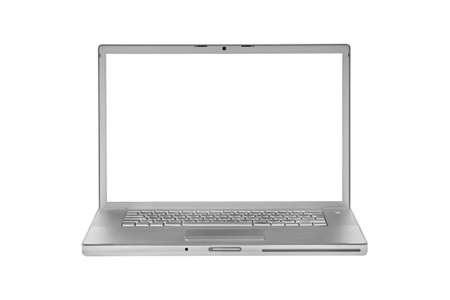 aluminium laptop isolated on white without display - front view