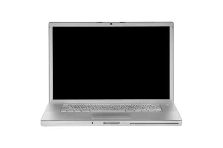 aluminium laptop isolated on white black display - front view