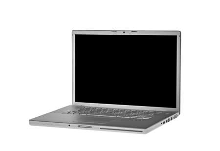 aluminium laptop isolated on white black screen - side view Stock Photo
