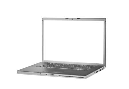 isolated laptop on white without screen - side view Stock Photo