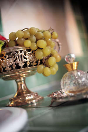 bunch of grape on silver goblet